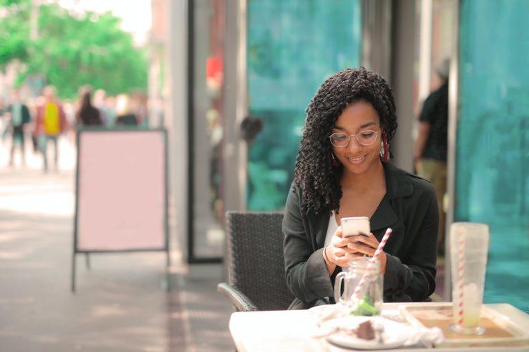 woman outside on phone